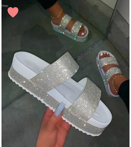 """BUFFY"" White Platform Sandal"