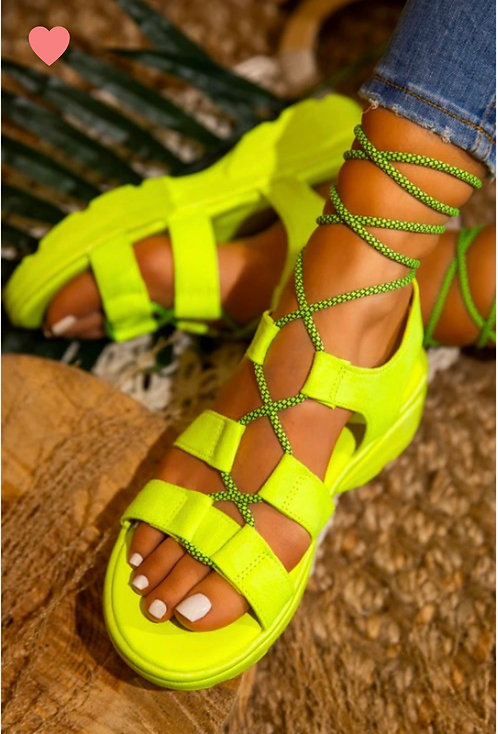 """JOLLY"" Neon Green Sandal"