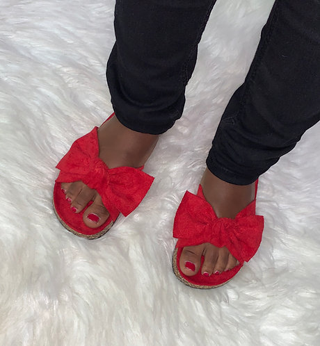 """LOVE"" Kids Red Bow Sandal"