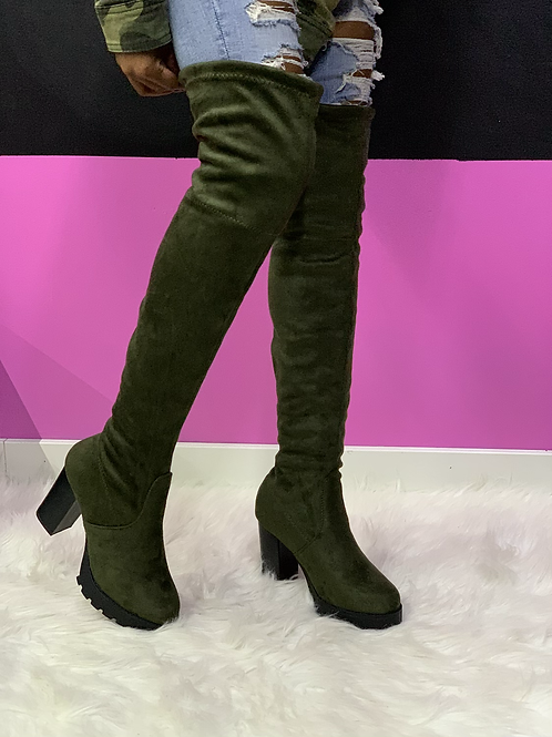 """""""NIA"""" Olive Green Thigh High Boot"""