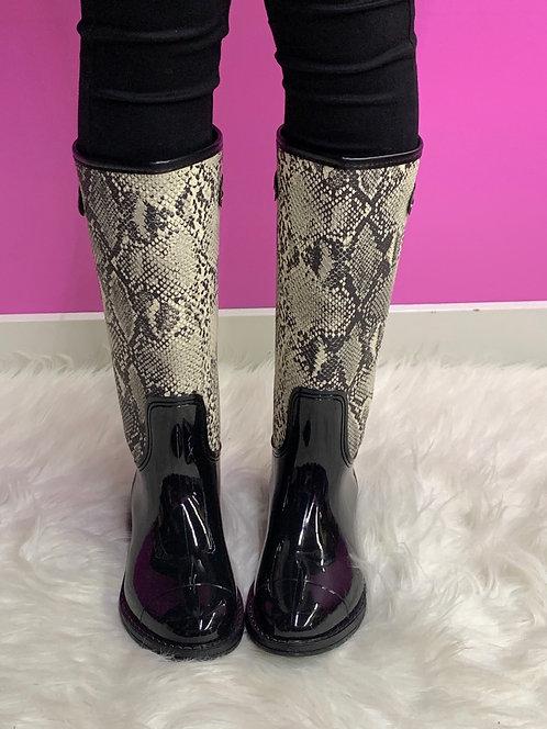"""NICOLE"" Snake Print Rain Boot"