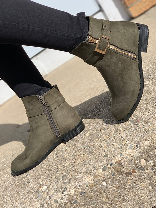 """Olive""Green Ankle Boot"