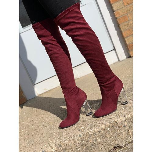 """""""Britt"""" Burgundy Knee High Boot"""