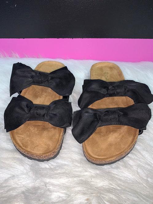 """LOVE"" Adult Black Bow Sandal"