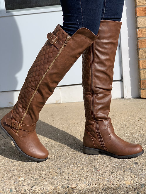 """CoCo"" Dark Brown Knee High Boot"