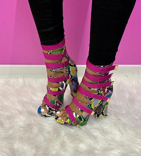 """Rainbow"" Multi Color GoGo Heel"
