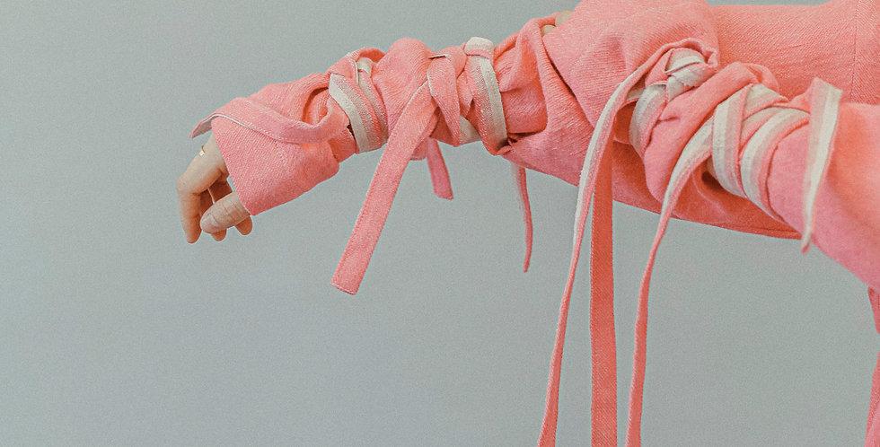 Pink banding linen Top