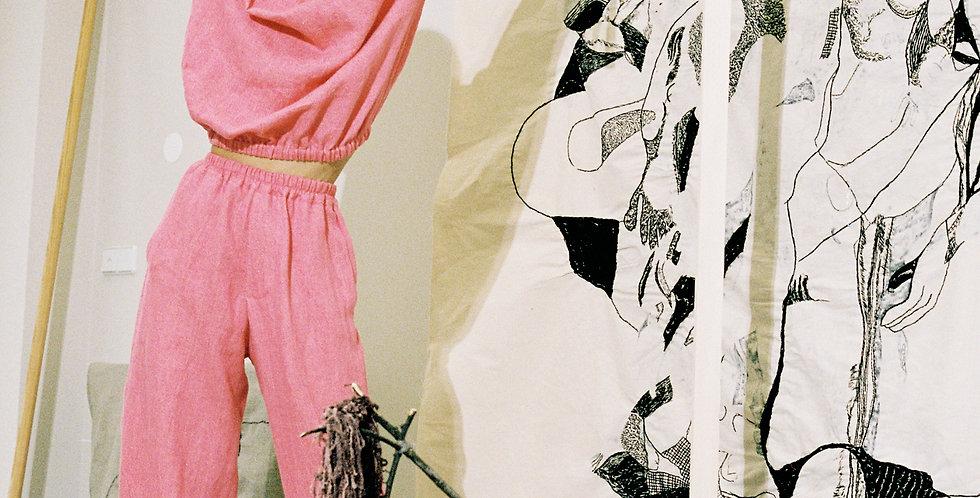 wide leg pants in pink