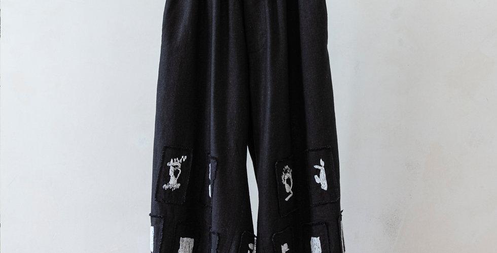 Patchwork hand stitched  linen Pants