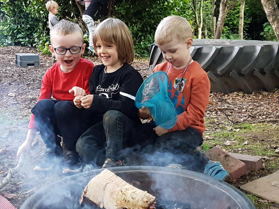 Campfire at nature kindergarten Scotland