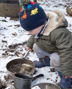 Snow play at a nature nursery West Lothian