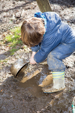 Muddy play at a forest school in Bathgate