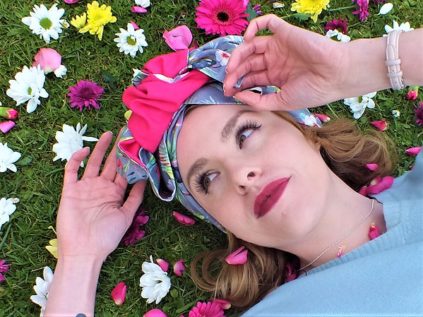 Mairi Brunning Milinery Headwrap in Grey Tropical Pink Linen Cotton Mix