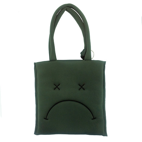 Stranger Than Them - Pierre Embroidered Faces Khaki Wadded Tote Bag