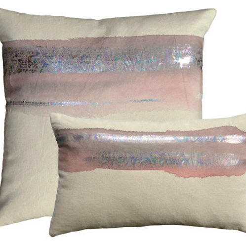 Aviva Stanoff Mod Art in Ash Rose on Canvas with Prism Dusk Cushion