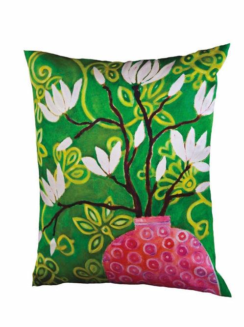 Mariska Meijers - In Bloom Green silk square pillow