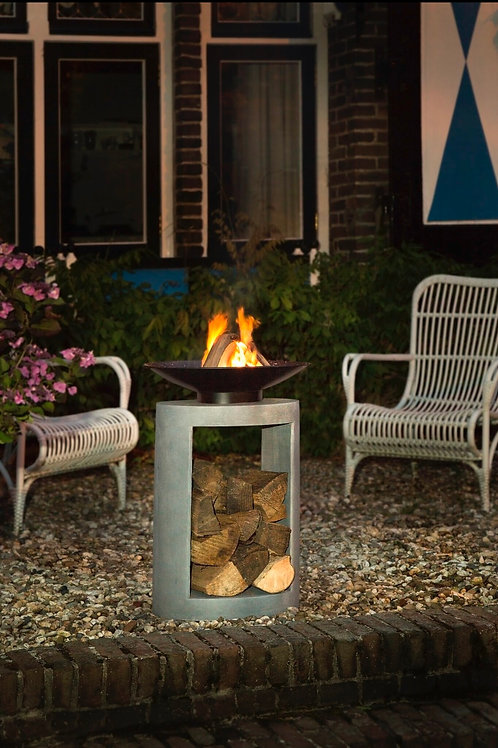 Firebowl & Oval Console Cement 56cm