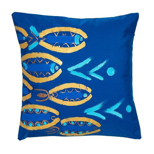 Le Botteghe d'Arte Blue Hand Painted Artisan Cushion