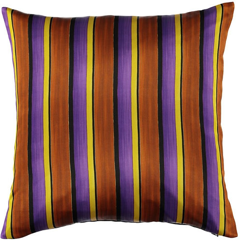 Mariska Meijers - Stripes Brown Silk Square Pillow