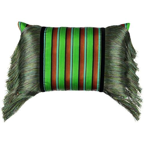 Mariska Meijers - Fringed Stripes Green Pillow