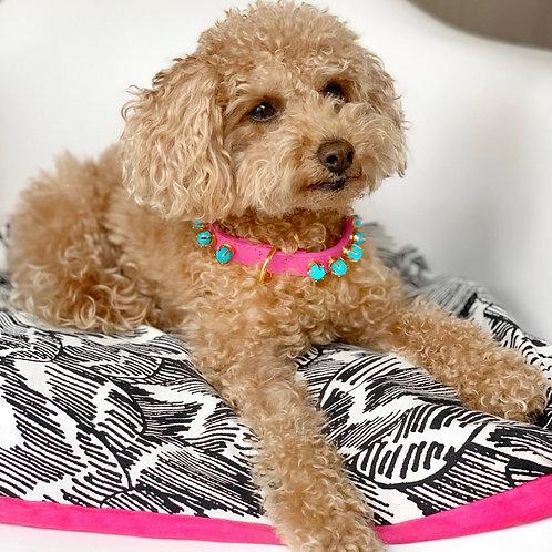 Pink Leather Dog Collar