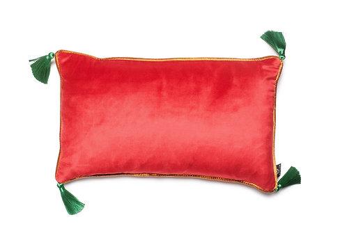 Bivain Hot Pink Velvet Rectangular Cushion with Tassels