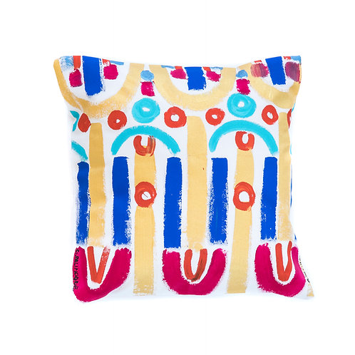 Le Botteghe d'Arte White Hand Painted Artisan Cushion