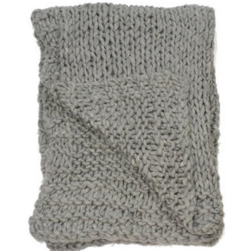 Aviva Stanoff Chunky Knit Merino Wool Throw in Cobble