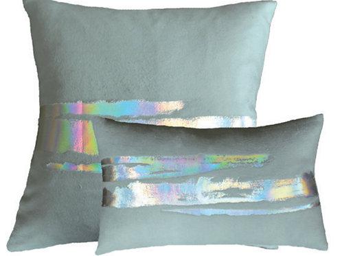 Aviva Stanoff Mod Art in AB Silver on Duck Egg Silk Fleece Cushion