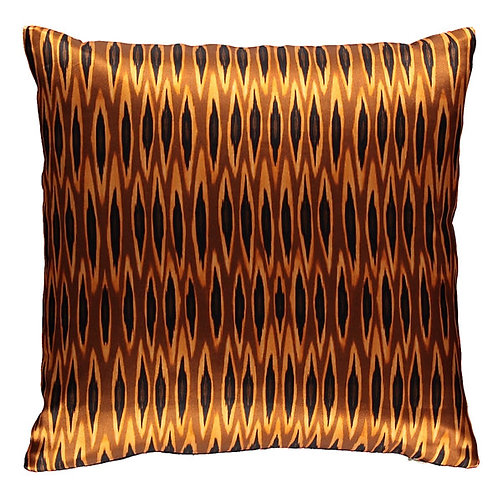 Mariska Meijers - Tribal Ikat Long Ocre Silk Square Pillow