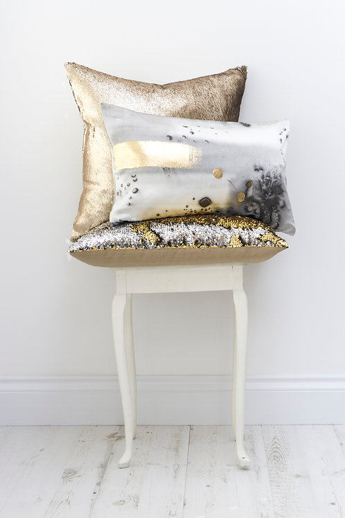 Aviva Stanoff Charcoal Stardust with Gold Detail Cushion