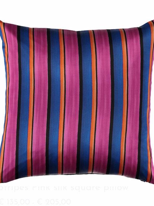 Mariska Meijers - Stripes Pink Silk Square pillow