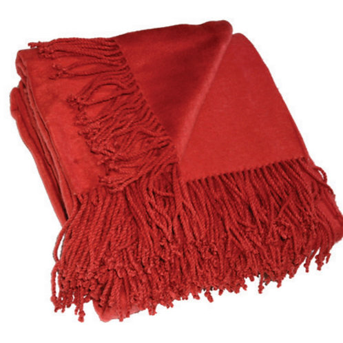 Aviva Stanoff Silk Fleece Throw in Merlot
