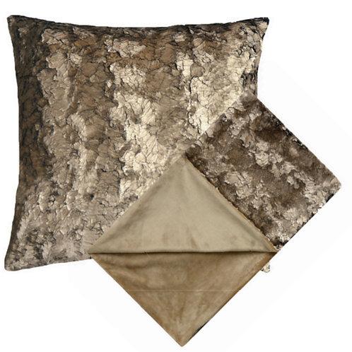 Aviva Stanoff Frost Bronze Fur Cushion