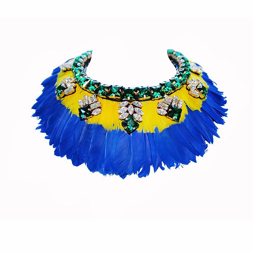 Paloma Yellow and Cobalt Blue Feather Necklace by Jolita