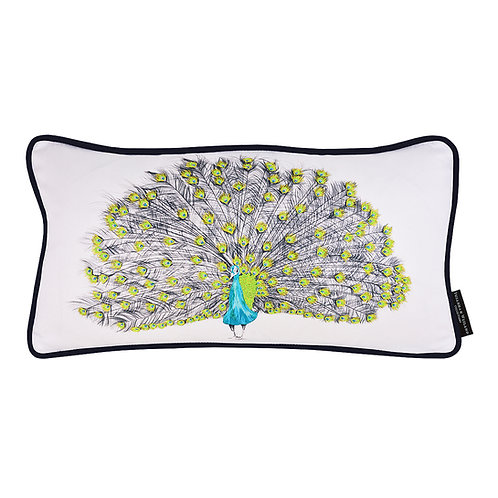 Susannah Weiland Collections Parker The Peacock Hand Embroidered Beaded Cushion