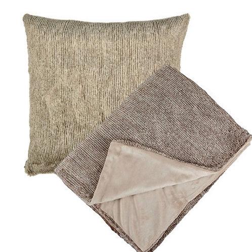 Aviva Stanoff Corded Oatmeal Fur Cushion