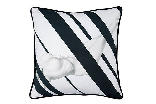 Bivain Nude Black Cotton Cushion