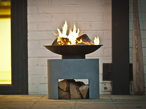 Firebowl & Oval Console Cement 30cm