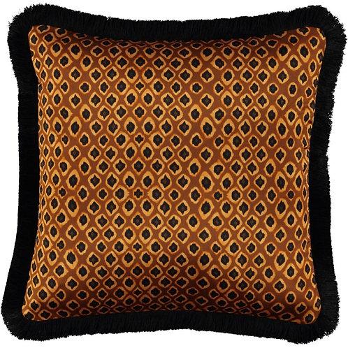 Mariska Meijers - Micro Ikat Ocre Fringed Silk Square Pillow
