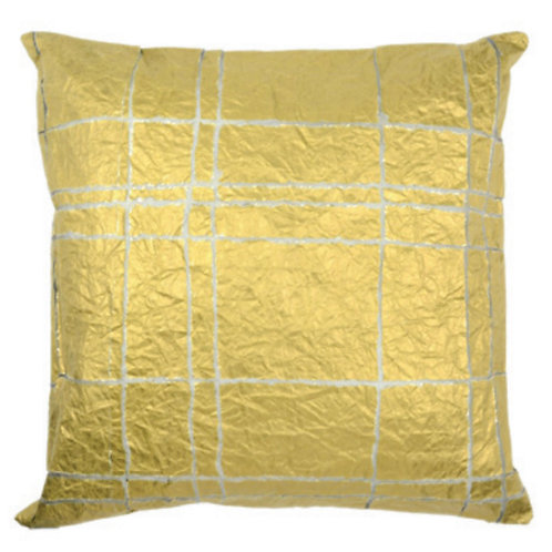 Aviva Stanoff Exotics Tissue Silk in Gold Grid Cushion