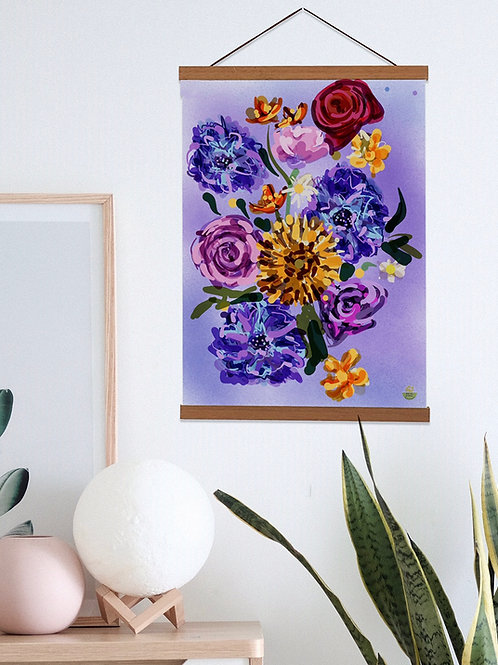 Elaine Collins 'Painterly Floral' Teak Wooden Magnetic Wall Art