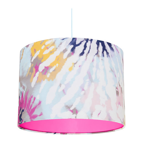 Pastel Tie-Dye Lampshade with Pink Inner