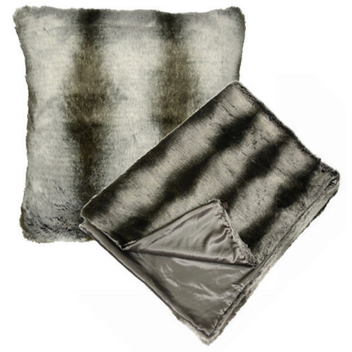 Aviva Stanoff Ombre Mink in Charcoal Fur Cushion