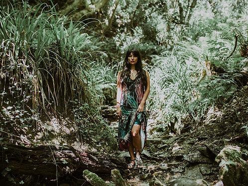 Rebecca J Mills - Grassed Print - Halterneck Maxi Dress