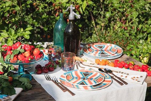 Le Botteghe d'Arte - Colours Murano Plate - White Glass - Terracotta & Green