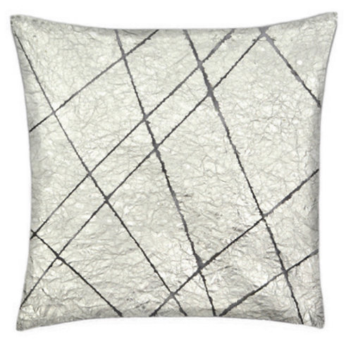 Aviva Stanoff Exotics Tissue Silk in Silver Grid Cushion