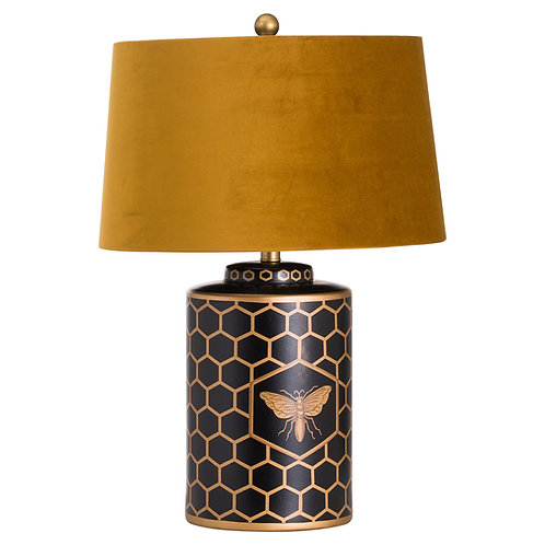 Black Lamp with Gold Velvet Lampshade