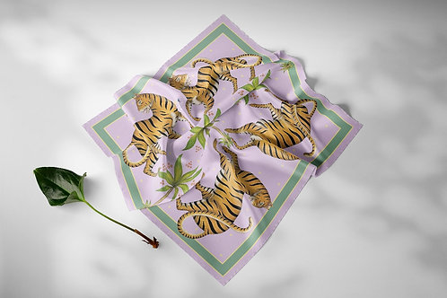 Pink Tiger Silk Scarf