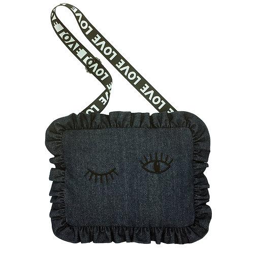 Stranger Than Them - FLIRT Winking Denim Cushion Bag With Love Strap